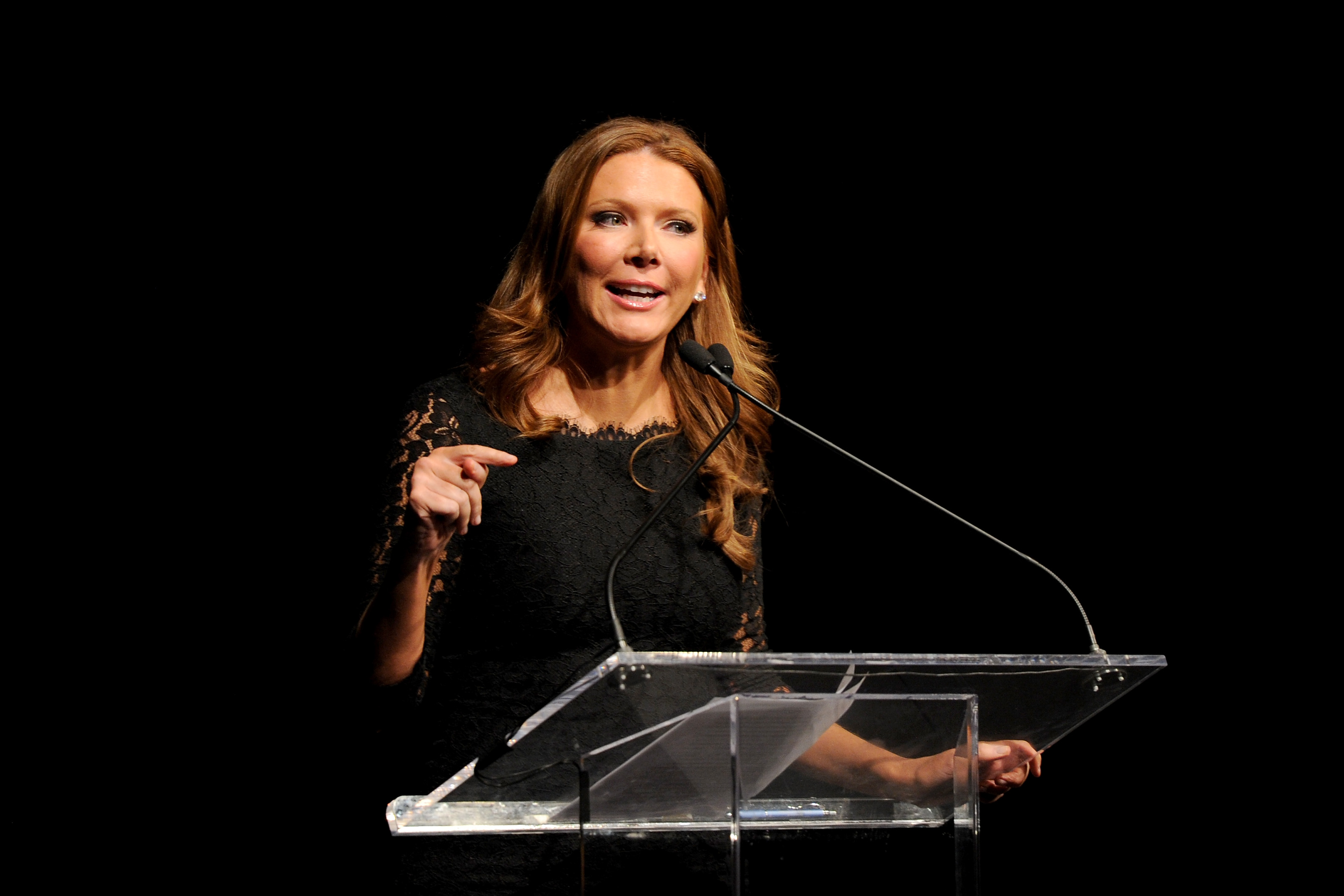 NEW YORK, NY - MARCH 02: Trish Regan speaks onstage at Jefferson Awards Foundation 2016 NYC National Ceremony on March 2, 2016, at Gotham Hall in New York City. (Photo by Craig Barritt/Getty Images for Jefferson Awards Foundation)