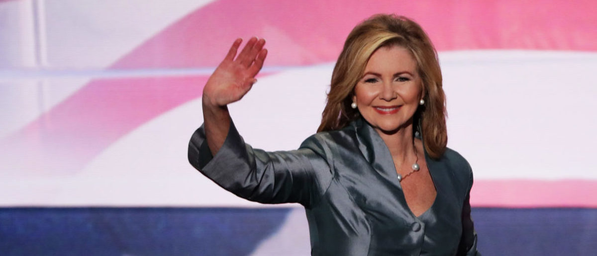 LEVELAND, OH - JULY 21: Rep. Marsha Blackburn (R-TN) waves to the crowd as she walks on stage to deliver a speech during the evening session on the fourth day of the Republican National Convention on July 21, 2016 at the Quicken Loans Arena in Cleveland, Ohio. Republican presidential candidate Donald Trump received the number of votes needed to secure the party's nomination. An estimated 50,000 people are expected in Cleveland, including hundreds of protesters and members of the media. The four-day Republican National Convention kicked off on July 18. (Photo by Alex Wong/Getty Images