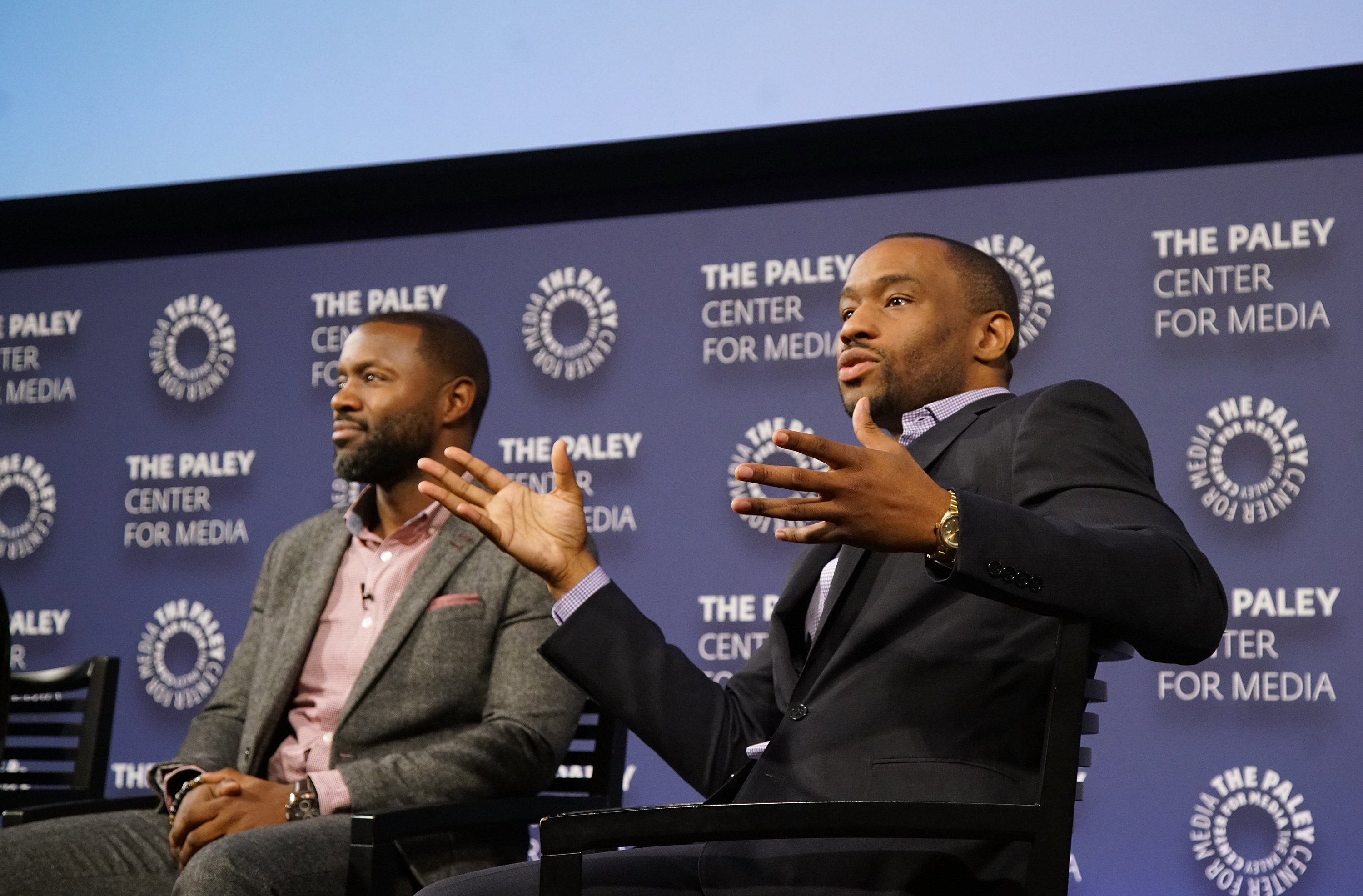 "NEW YORK, NY - DECEMBER 07: Executive producer Rob Hardy and moderator Marc Lamont HIll attend BET Presents ""An Evening With 'The Quad'"" At The Paley Center on December 7, 2016 in New York City. (Photo by Bennett Raglin/Getty Images for BET Networks)"