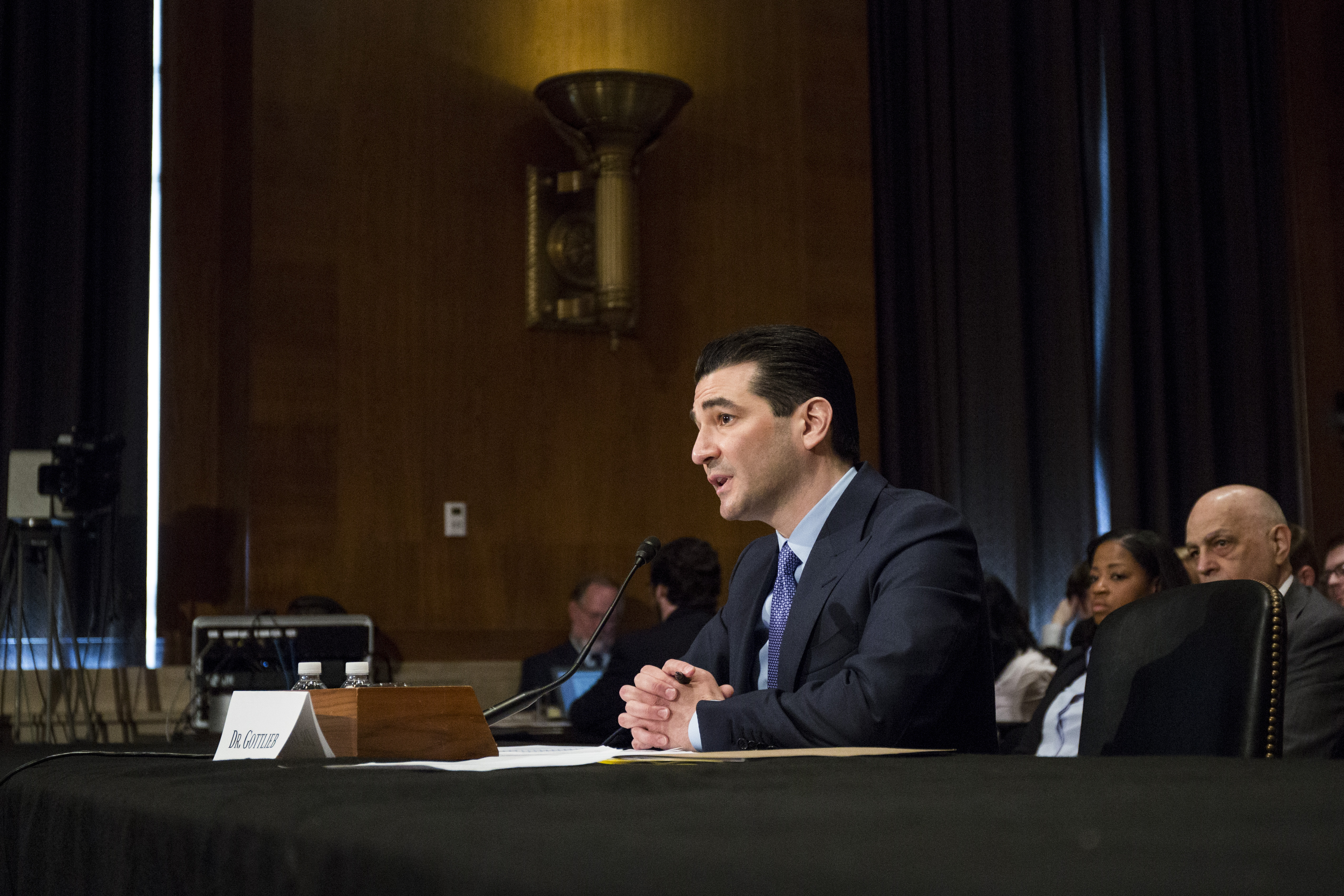 FDA Commissioner-designate Scott Gottlieb testifies during a Senate Health, Education, Labor and Pensions Committee hearing on April 5, 2017 at on Capitol Hill in Washington, D.C. Zach Gibson/Getty Images