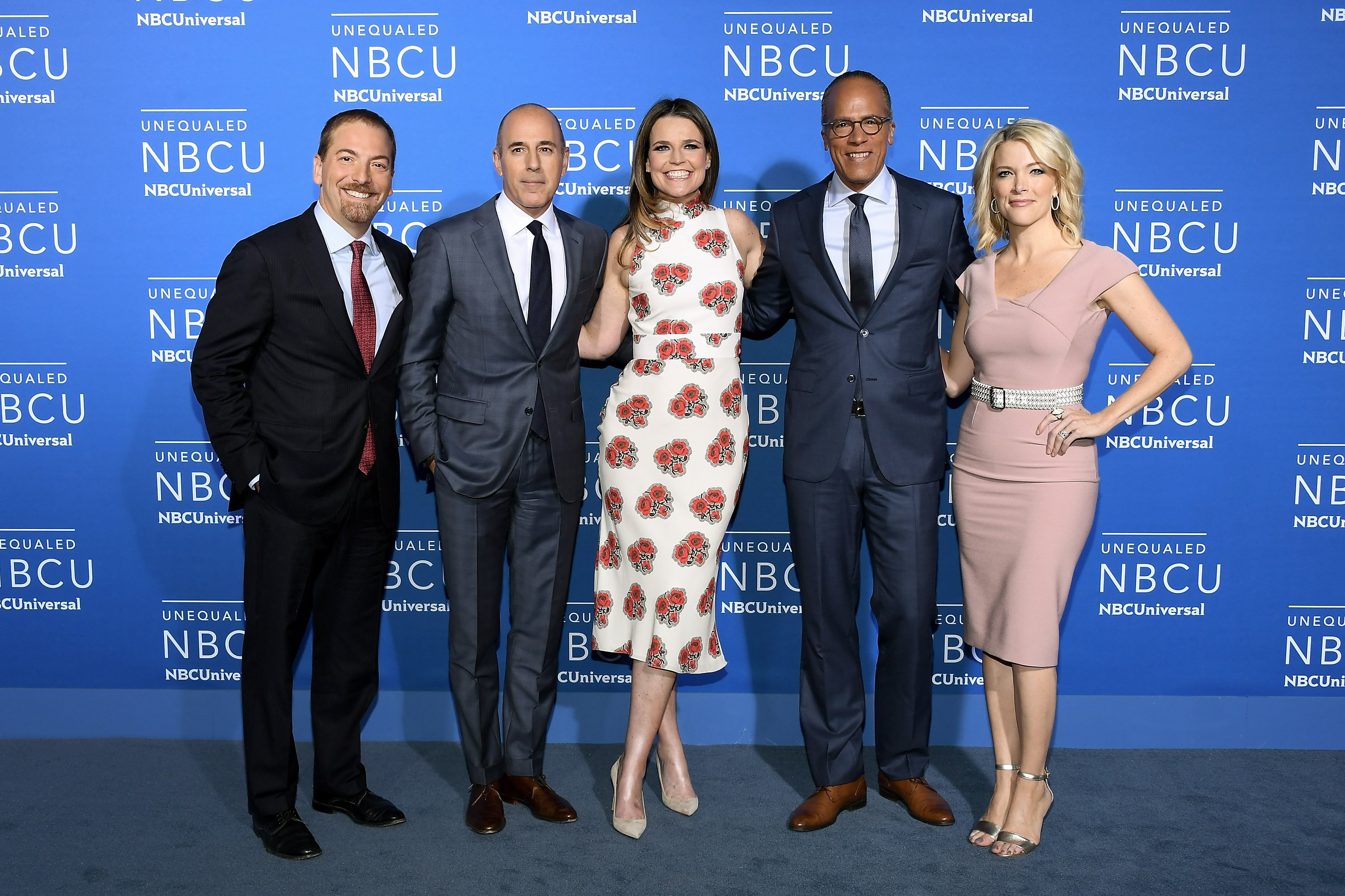NEW YORK, NY - MAY 15: (L-R) Chuck Todd, Matt Lauer, Savannah Guthrie, Lester Holt, and Megyn Kelly attend the 2017 NBCUniversal Upfront at Radio City Music Hall on May 15, 2017 in New York City. (Photo by Dia Dipasupil/Getty Images)