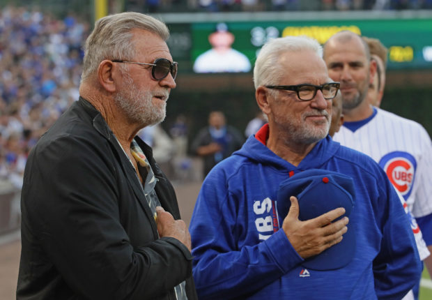 CHICAGO, IL - JUNE 08: Former NFL coach Mike Ditka stands with manager Joe Maddon #70 of the Chicago Cubs during the National Anthem before a game against the Colorado Rockies at Wrigley Field on June 8, 2017 in Chicago, Illinois. (Photo by Jonathan Daniel/Getty Images)