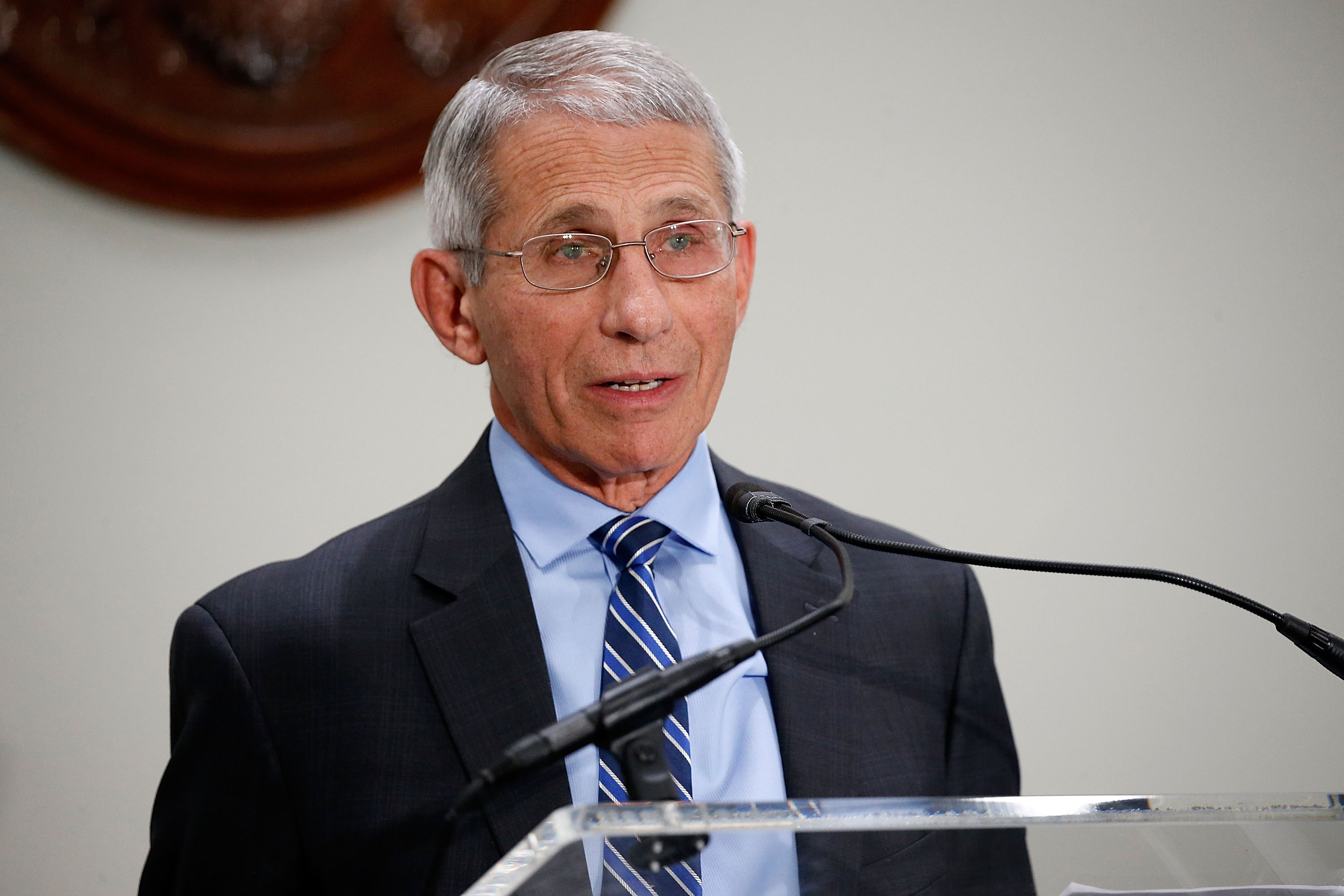 "Anthony Fauci, M.D., Director, National Institute of Allergy and Infectious Diseases, National Institutes of Health (NIH), speaks at ""Making AIDS History: A Roadmap for Ending the Epidemic"" at the Hart Senate Building on June 14, 2017 in Washington, DC. Paul Morigi/Getty Images"