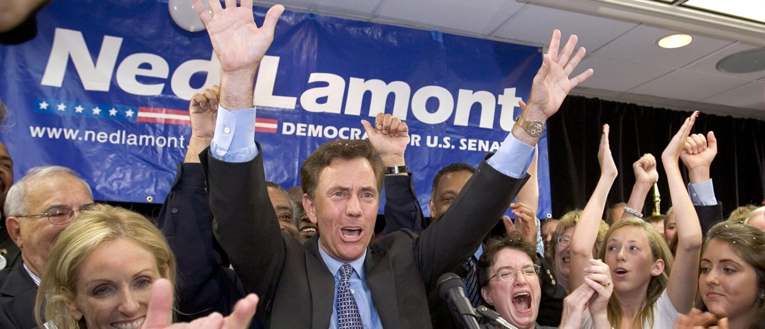 MERIDEN, CT - AUGUST 8: Ned Lamont celebrates with supporters and family after winning the Democratic U.S. Senate primary August 8, 2006 in Meriden, Connecticut. Lamont, a Greenwich businessman, was in a tight race with U.S. Sen. Joseph Lieberman (D-CT) for the Democratic nomination. (Photo by Bob Falcetti/Getty Images)