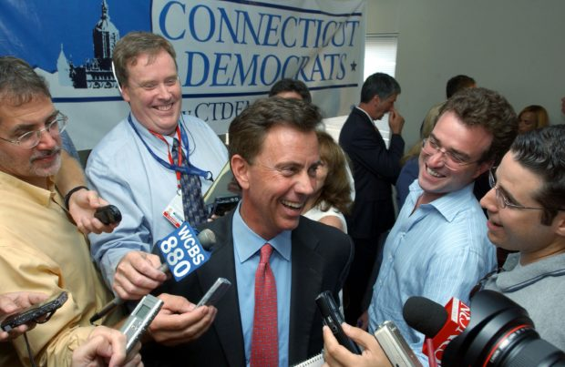HARTFORD, CT AUGUST 9: U.S. Democratic Senate nominee Ned Lamont (C) is surrounded by press at State Democratic Headquarters August 9, 2006 in Hartford, Connecticut. Lamont beat incumbent U.S. Senator Joseph Lieberman in the August 8 Democratic primary. (Photo by Darren McCollester/Getty Images)