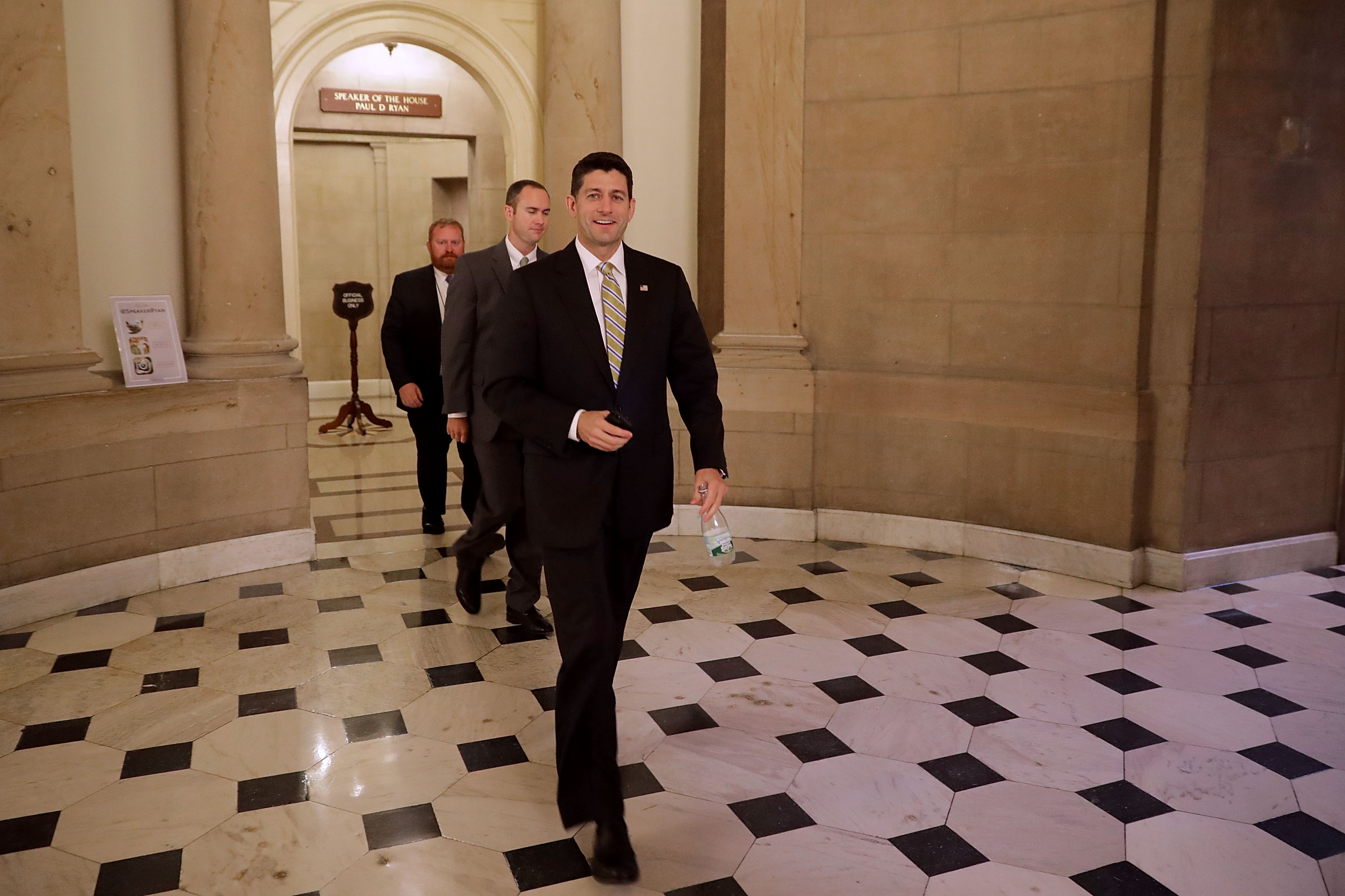 Speaker of the House Paul Ryan leaves his office at the U.S. Capitol July 27, 2017 in Washington, DC. Chip Somodevilla/Getty Images