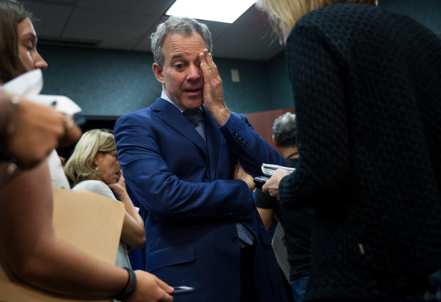 NEW YORK, NY - AUGUST 3: New York State Attorney General Eric Schneiderman pauses while speaking to reporters following a press conference to call for an end of Immigration and Customs Enforcement (ICE) raids in New York state courts, August 3, 2017 in the Brooklyn borough of New York City. During remarks, Attorney General Schneiderman stated that 'targeting immigrants at our courthouses undermines our criminal justice system and threatens public safety.' (Photo by Drew Angerer/Getty Images)