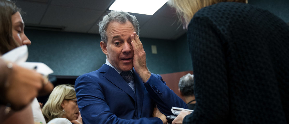 New York State Attorney General Eric Schneiderman pauses while speaking to reporters following a press conference to call for an end of Immigration and Customs Enforcement (ICE) raids in New York state courts, August 3, 2017 in the Brooklyn borough of New York City. (Drew Angerer/Getty Images)