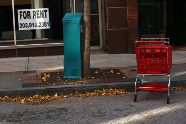 WATERBURY, CT - NOVEMBER 11: Empty store fronts line a street November 11, 2008 in Waterbury, Connecticut. Unlike the wealthier towns on the Connecticut coast, the area of northwest Connecticut depends on manufacturing and construction. The Connecticut Department of Labor has announced that the number of jobs in the state fell by 2,300 from August, 2008 to September as the impact of the nation's contracting economy began to worsen. The decline in housing has furthered job cuts in construction employment by 300, to 67,700. The manufacturing industry has lost 700 jobs, to 188,500. (Photo by Spencer Platt/Getty Images)