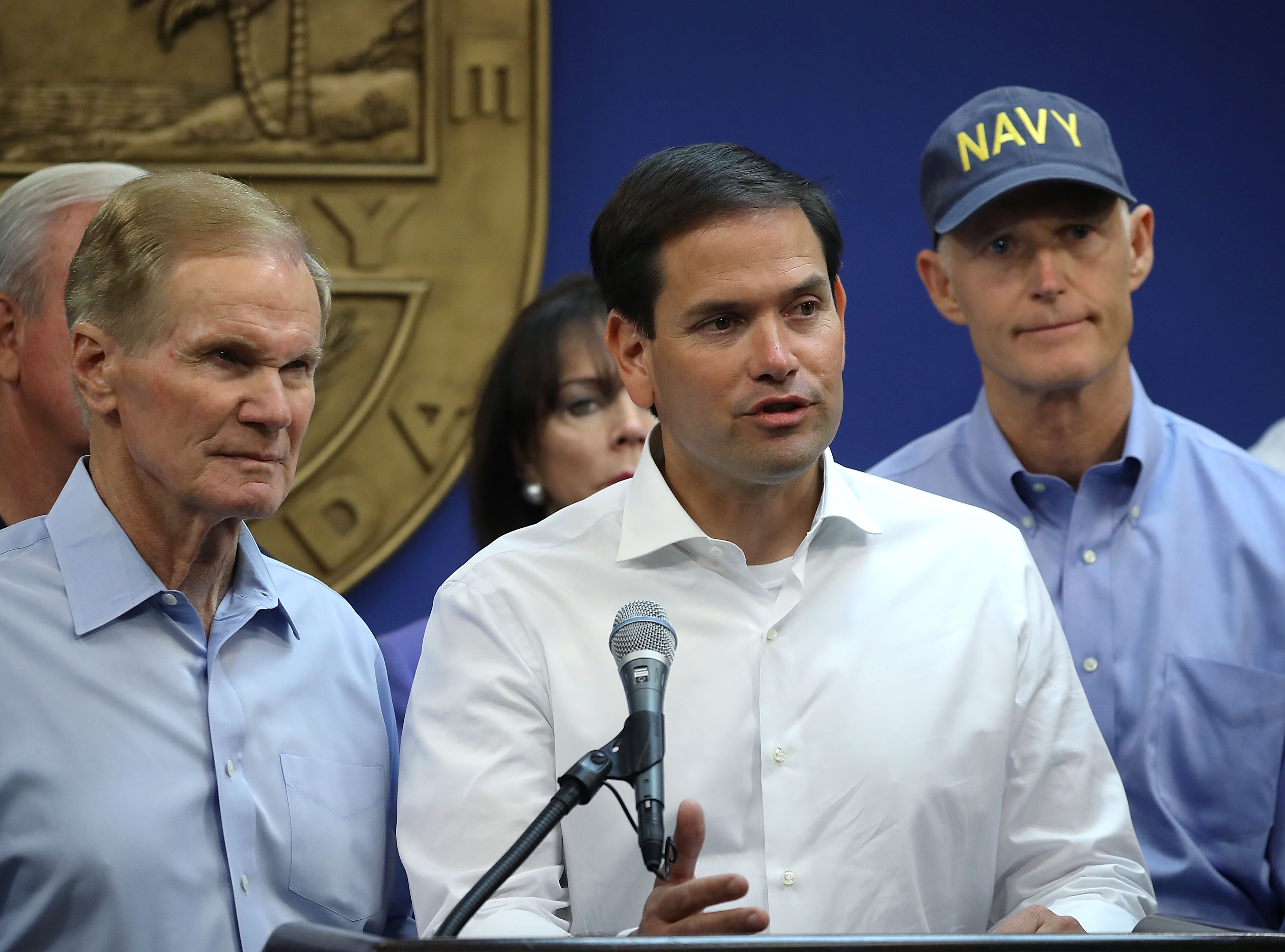 (L-R), Florida Democratic Sen. Bill Nelson, Florida Republican Sen. Marco Rubio and Florida Gov. Rick Scott speak to the media about Hurricane Irma on September 6, 2017 in Doral, Florida. Mark Wilson/Getty Images