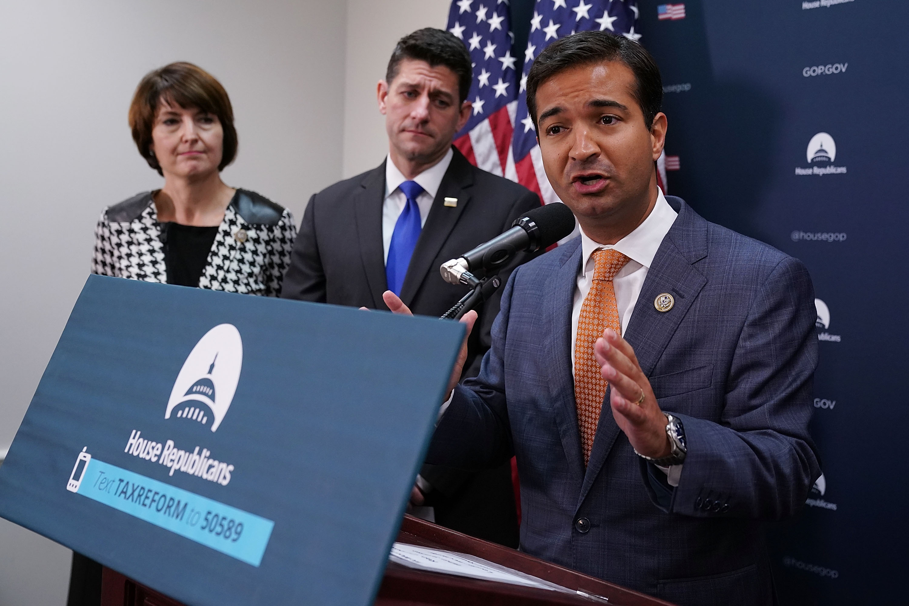 Rep. Carlos Curbelo (R-FL) (R) talks with reporters with Speaker of the House Paul Ryan (R-WI) and Rep. Cathy McMorris Rogers (R-WA) following the weekly House Republican Conference meeting at the U.S. Capitol October 24, 2017 in Washington, DC. Chip Somodevilla/Getty Images