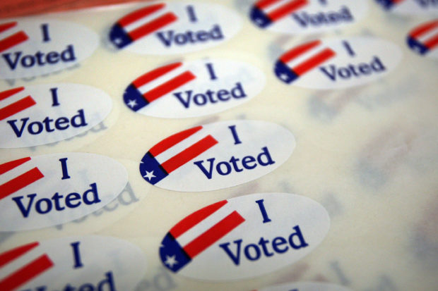 PASADENA, CA - MAY 19: A sheet of voter stickers is seen inside Fire Station 38, as people go to the polls for a special election called by Gov. Arnold Schwarzenegger...(Photo by David McNew/Getty Images)