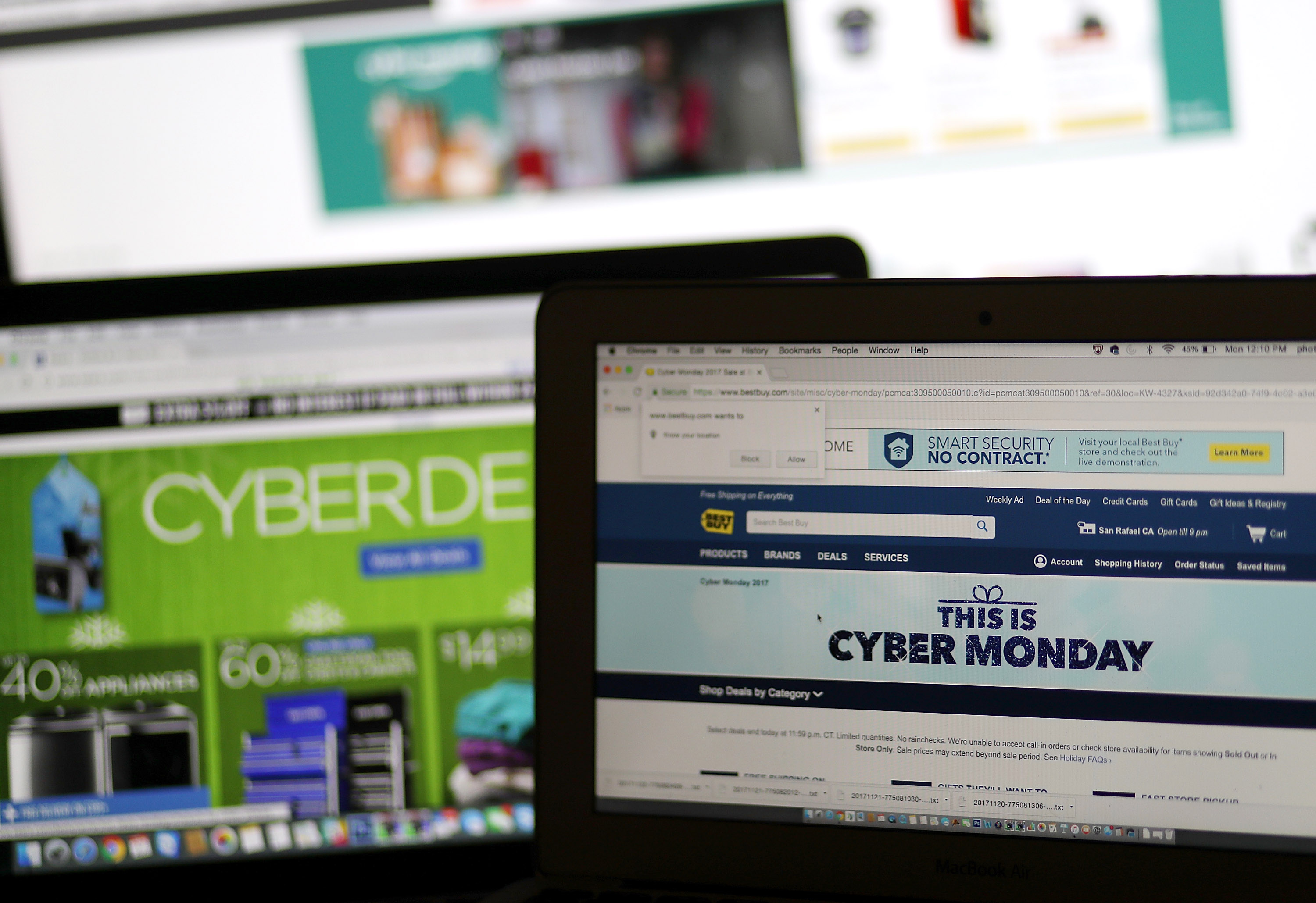 In this photo illustration, an ad seen on the Best Buy website for a Cyber Monday sale is displayed on laptop computers on November 27, 2017 in San Anselmo, California. Justin Sullivan/Getty Images