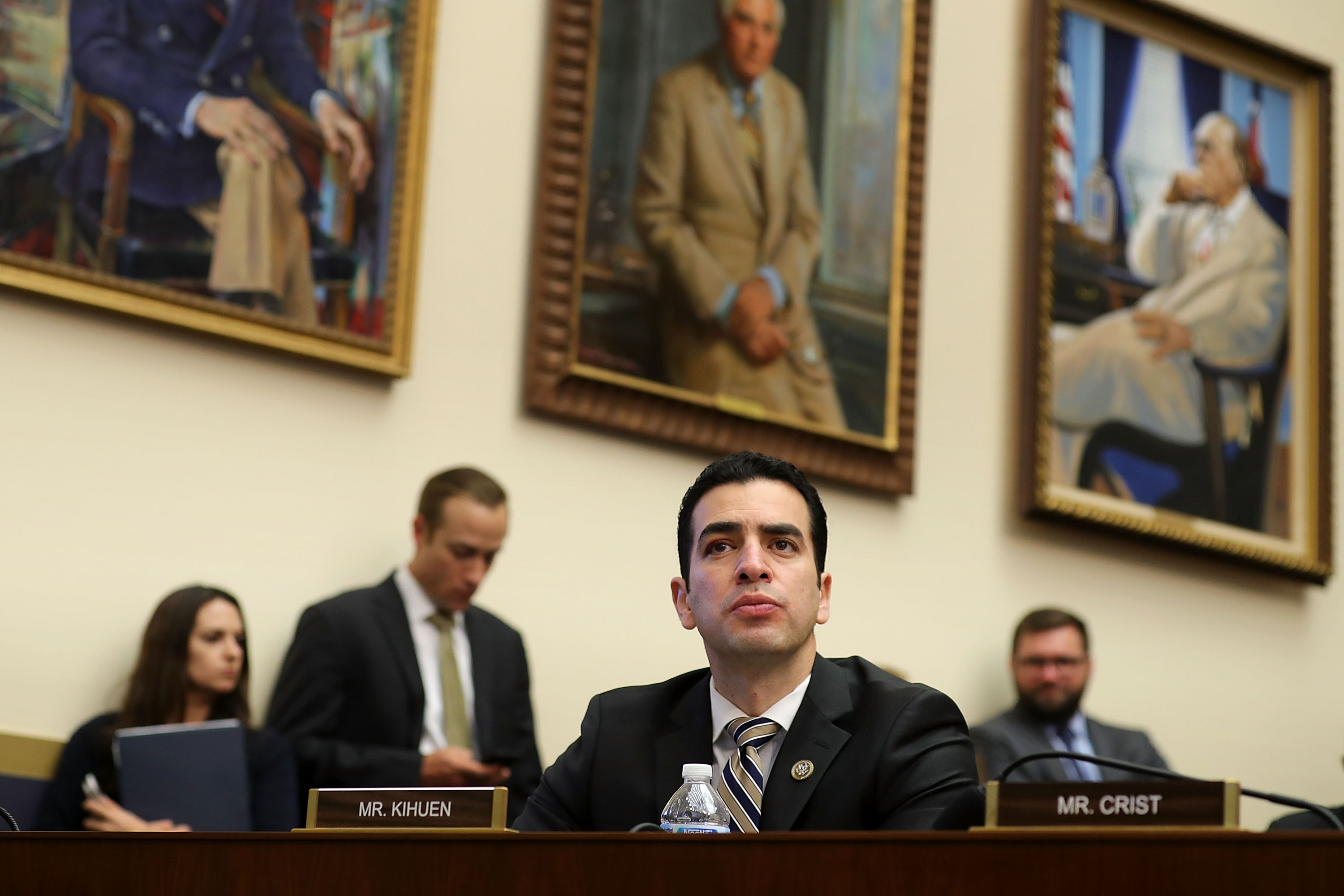 House Financial Services Committee member Rep. Ruben Kihuen (C) listens to testimony from Treasury Secretary Steven Mnuchin in the Rayburn House Office Building on Capitol Hill February 6, 2018 in Washington, DC. Chip Somodevilla/Getty Images