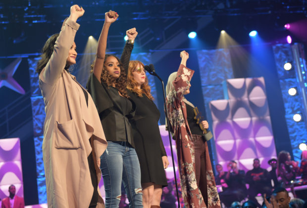 ATLANTA, GA - FEBRUARY 11: Social Movement Award Honorees Carmen Perez, Tamika D. Mallory, Bob Bland, and Linda Sarsour on stage during the BET's Social Awards 2018 at Tyler Perry Studio on February 11, 2018 in Atlanta, Georgia. (Photo by Marcus Ingram/Getty Images for BET)