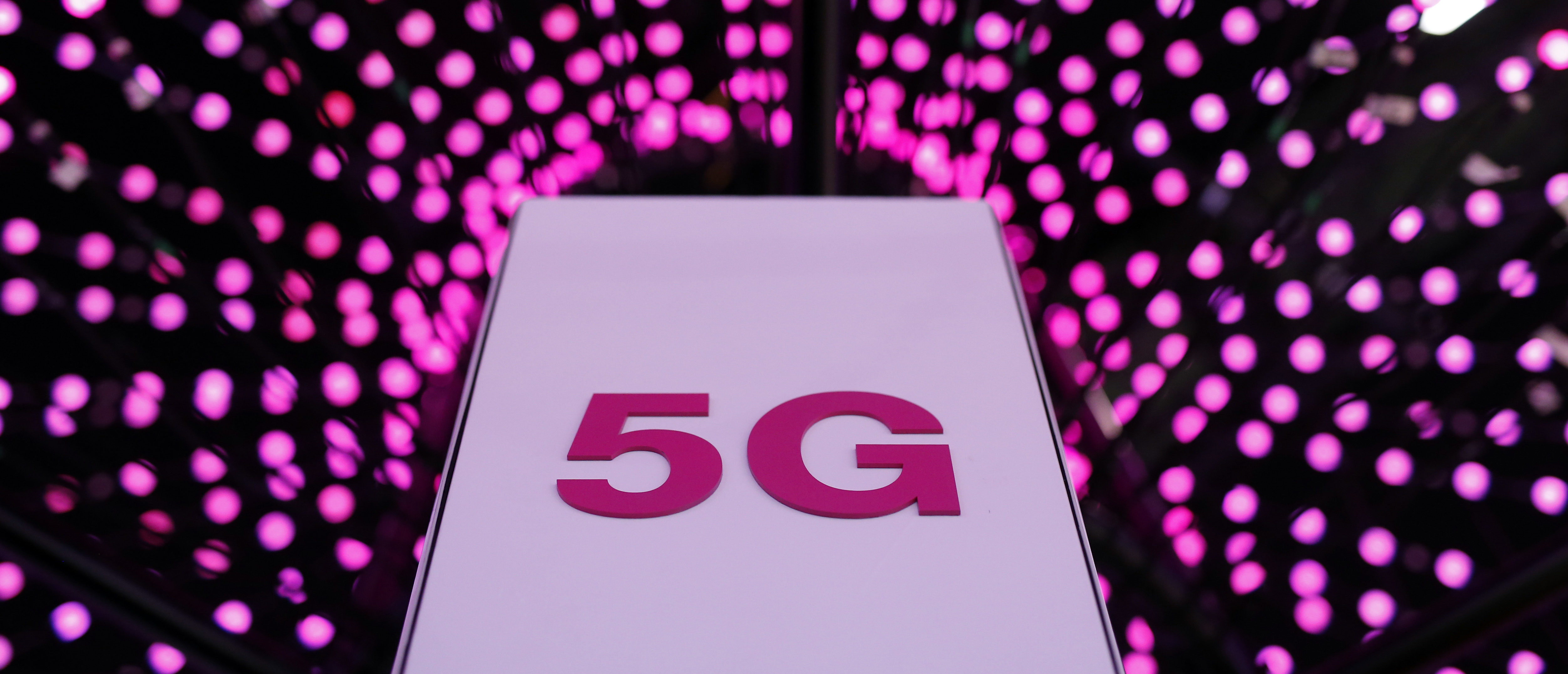 Picture shows a 5G antenna at Deutsche Telekom stand on the first day of the Mobile World Congress (MWC) on February 26, 2018 in Barcelona. The Mobile World Congress, the world's biggest mobile fair, is held in Barcelona from February 26 to March 1. / AFP PHOTO / Pau Barrena (Photo credit should read PAU BARRENA/AFP/Getty Images)