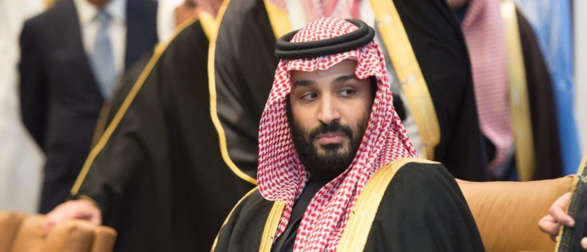 Prince Mohammed bin Salman Al Saud, Crown Prince, Kingdom of Saudi Arabia, attends a meeting with the United Nations Secretary-General Antonio Guterres (out of frame) at the United Nations on March 27, 2018 in New York. Getty Images/ AFP PHOTO / Bryan R. Smith
