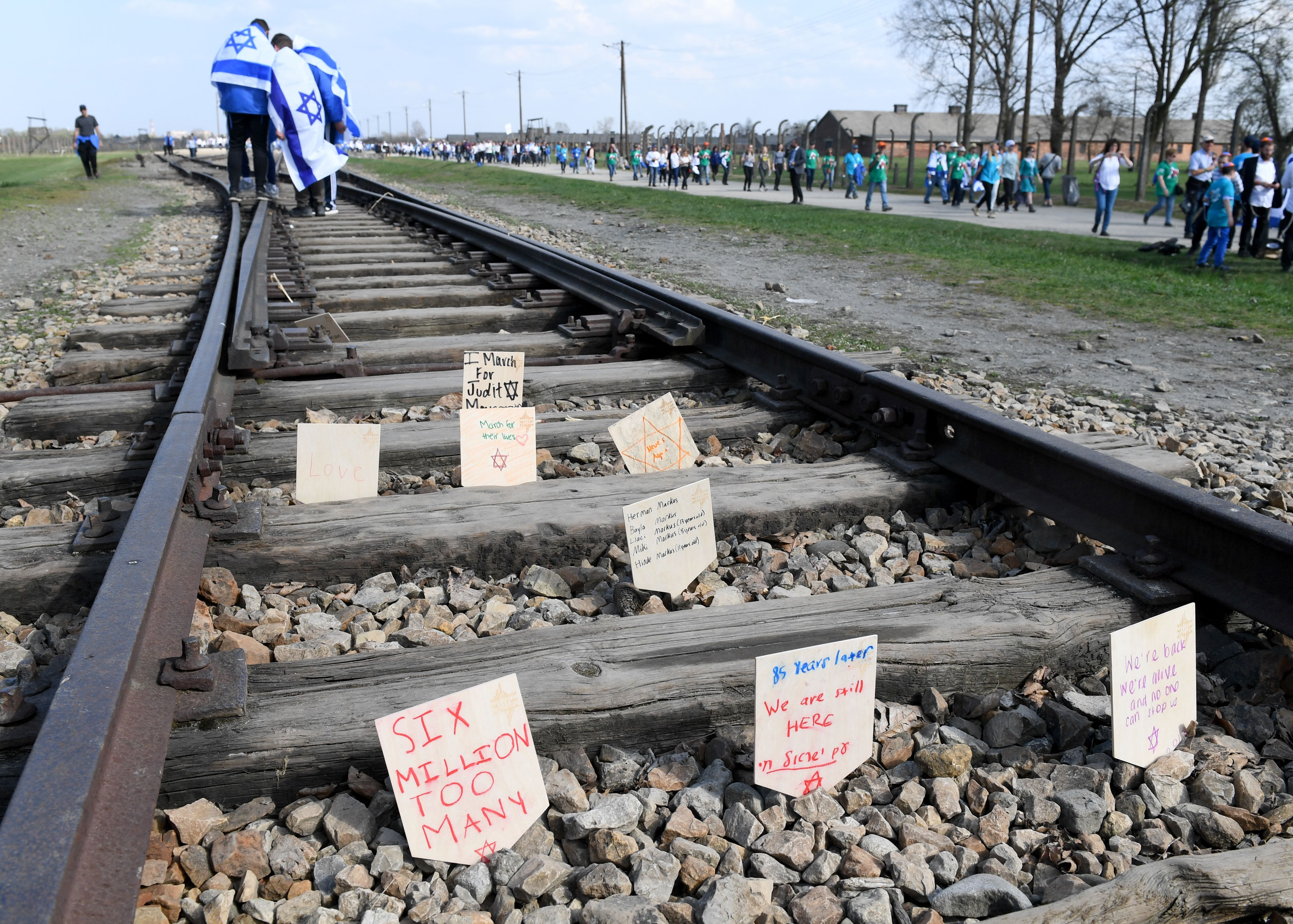 Held for the 30th time, organisers say the annual March of the Living is the world's largest single Holocaust memorial event. Thousands of young Jews from more than 40 nations marched alongside a handful of Holocaust survivors and Polish teenagers in homage to the victims of the former Auschwitz-Birkenau WWII death camp in southern Poland. / AFP PHOTO / JANEK SKARZYNSKI