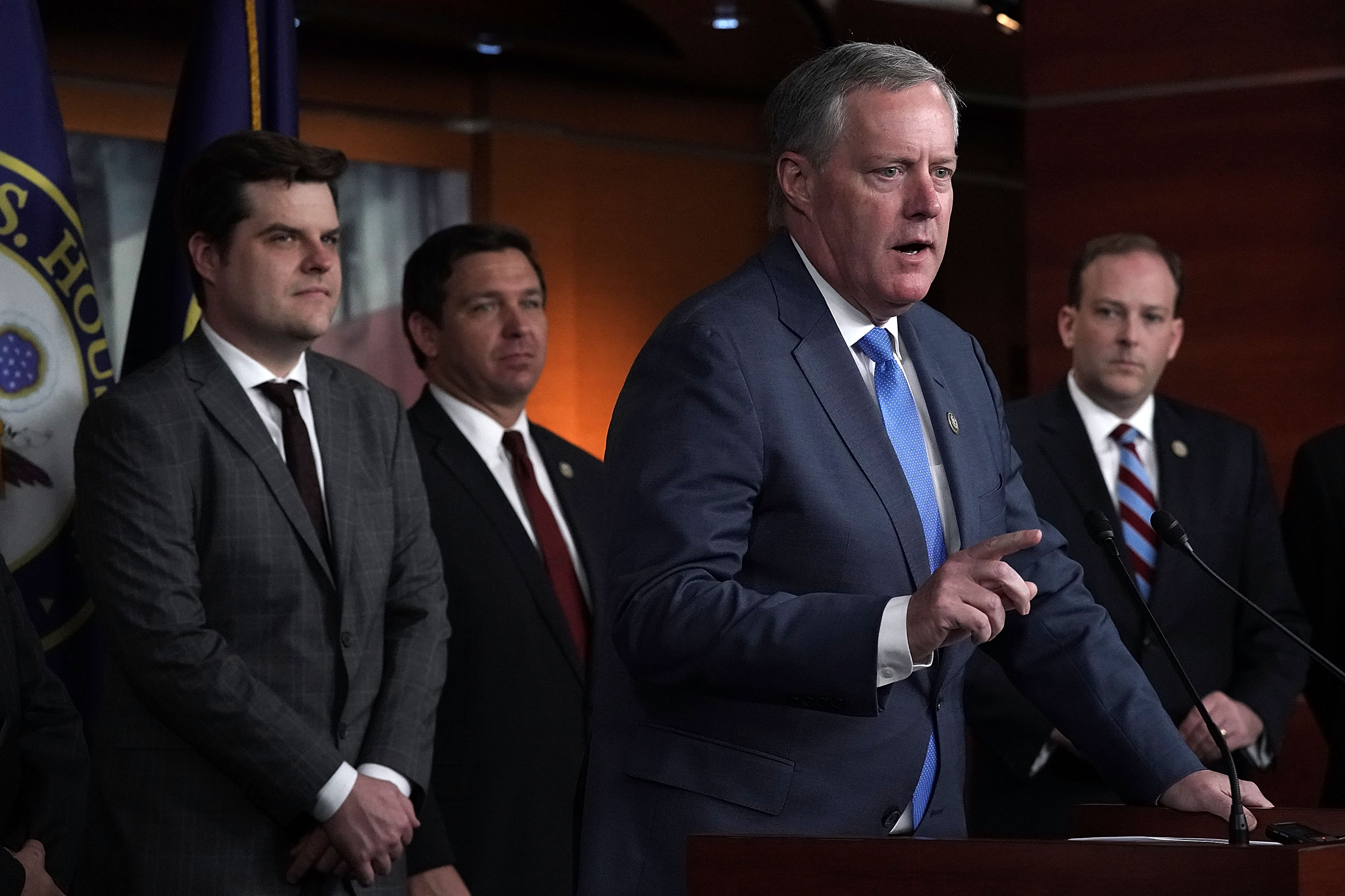 U.S. Rep. Mark Meadows speaks as (L-R) Rep. Matt Gaetz, Rep. Ron DeSantis and Rep. Lee Zeldin listen during a news conference May 22, 2018 on Capitol Hill in Washington, DC. Alex Wong/Getty Images