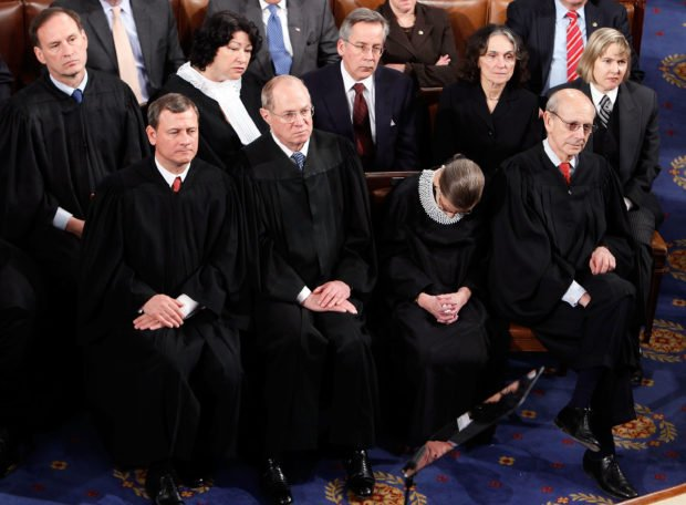 WASHINGTON - JANUARY 27: U.S. Supreme Court Justice Ruth Bader Ginsburg appears to doze during U.S. President Barack Obama's first State of the Union address at the U.S. Capitol on January 27, 2010 in Washington, DC. Pictured from the high court are: (L-R, Front) Chief Justice John Roberts and Justices Anthony Kennedy, Ginsburg and Stephen Breyer (L-R, Back) Justices Samuel Alito and Sonia Sotomayor. Since taking office a little over a year ago, Obama's approval ratings have dropped significantly according to recent polls. (Photo by Alex Wong/Getty Images)