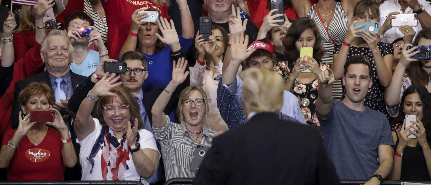 NASHVILLE, TN - MAY 29: U.S. President Donald Trump acknowledges the audience during a rally at the Nashville Municipal Auditorium, May 29, 2018 in Nashville, Tennessee. Earlier in the day, President Trump held a fundraising event in support of Rep. Marsha Blackburn (R-TN), who is running for a U.S. Senate seat against former two-term Tennessee Governor Phil Bredesen, a Democrat. They are competing for the Senate seat currently held by Sen. Bob Corker (R-TN), who declined to run for a third term. Recent polling indicates a close race between Blackburn and Bredesen. (Photo by Drew Angerer/Getty Images)