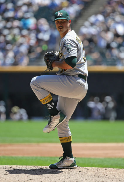 CHICAGO, IL - JUNE 23: Starting poitcher Daniel Mengden #33 of the Oakland Athletics delivers the ball against the Chicago White Sox at Guaranteed Rate Field on June 23, 2018 in Chicago, Illinois. (Photo by Jonathan Daniel/Getty Images)