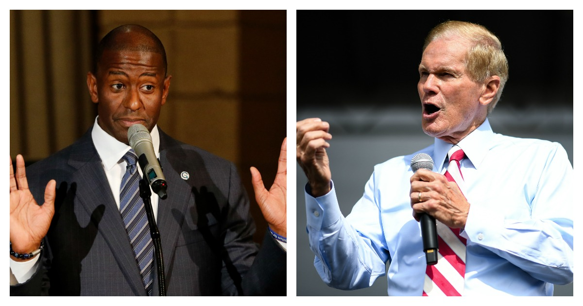 LEFT: Florida Democratic gubernatorial candidate Andrew Gillum attends a service to advocate for a vote recount at the New Mount Olive Baptist Church on November 11, 2018 in Fort Lauderdale, Florida. (Joe Skipper/Getty Images) RIGHT: Senator Bill Nelson campaigns at the 65th Infantry Veterans Park on November 4, 2018 in Kissimmee Florida. (Jeff J Mitchell/Getty Images)