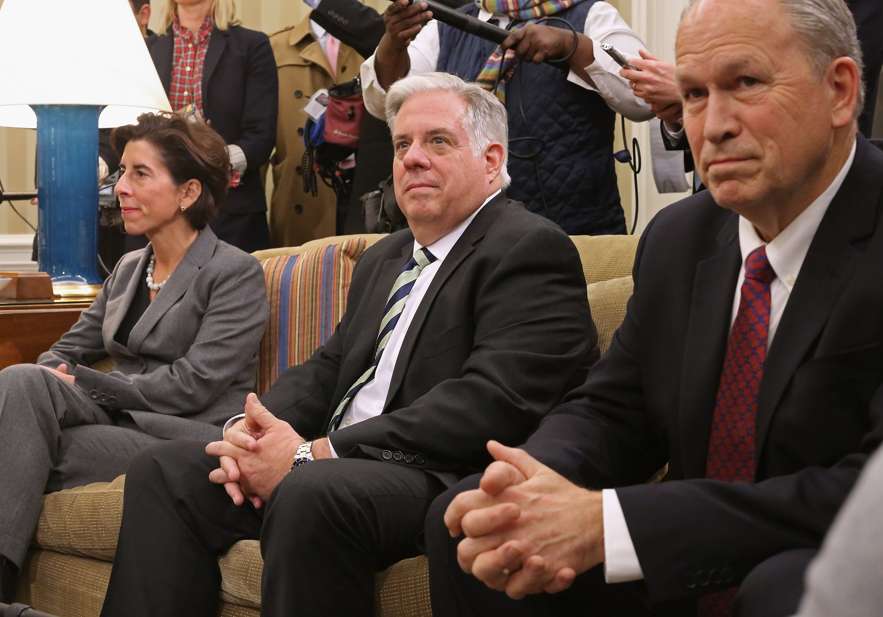 WASHINGTON, DC - DECEMBER 05: Governor-elect Gina Raimondo of Rhode Island, Governor-elect Larry Hogan of Maryland and Gov. Bill Walker of Alaska meet with U.S. President Barack Obama in the Oval Office at the White House December 5, 2014 in Washington, DC. Obama also met with the governors-elect from Pennsylvania, Massachusetts, Illinois and Texas, and said kthe group would talk about issues where the states and the White House have common ground. (Photo by Chip Somodevilla/Getty Images)