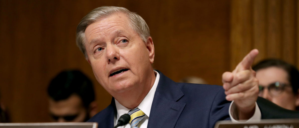 Senate Judiciary Committee member Sen. Lindsey Graham (R-SC) delivers remarks about Supreme Court nominee Judge Brett Kavanaugh during a mark up hearing in the Dirksen Senate Office Building on Capitol Hill September 28, 2018 in Washington, DC. (Chip Somodevilla/Getty Images)