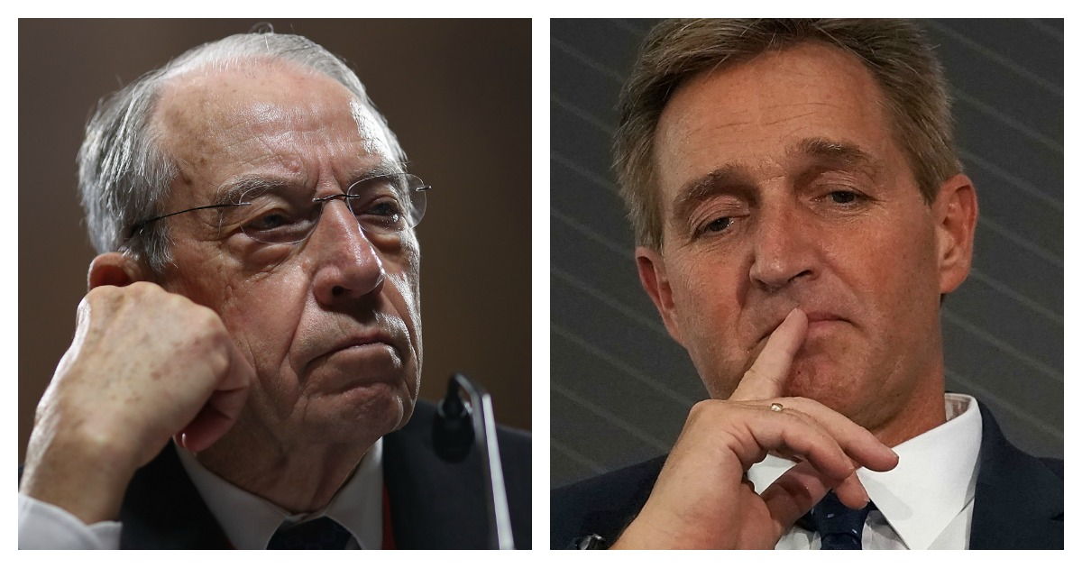 LEFT: Sen. Chuck Grassley (R-IA) attends a committee hearing on Capitol Hill November 15, 2018 in Washington, DC. (Win McNamee/Getty Images) RIGHT: U.S. Sen. Jeff Flake (R-AZ) participates in a discussion during the 2018 Atlantic Festival October 2, 2018 in Washington, DC. (Alex Wong/Getty Images)