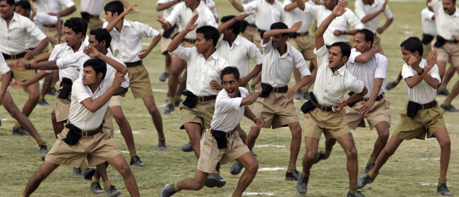 Volunteers of the Rashtriya Swayamsevak Sangh (RSS), India's Hindu nationalist organisation, take part in a drill during a training camp in the central Indian city of Bhopal June 7, 2014. REUTERS/Raj Patidar