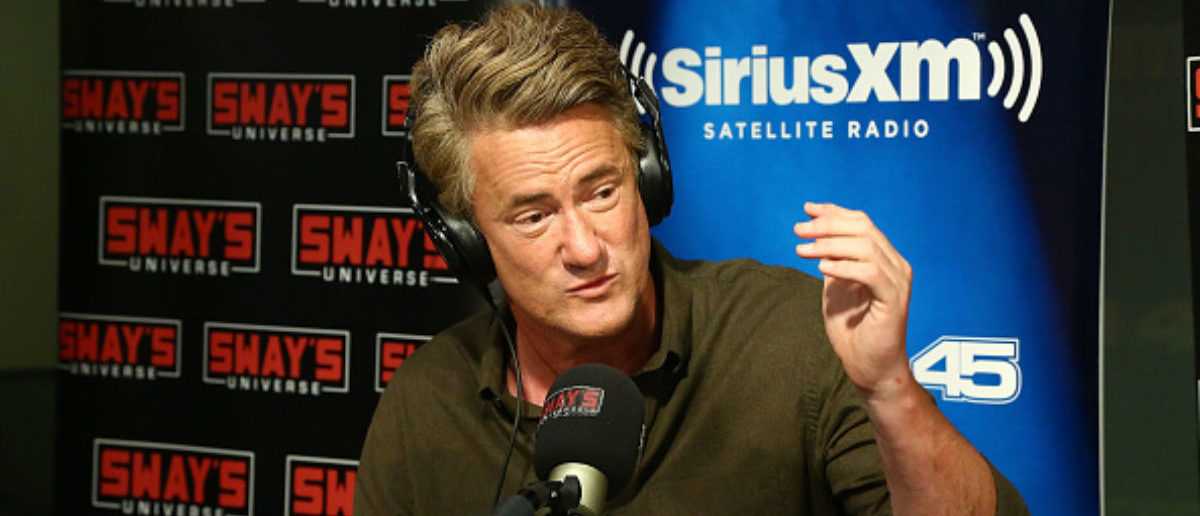 """NEW YORK, NY - AUGUST 02: (EXCLUSIVE COVERAGE) Host of MSNBC's """"Morning Joe"""", Joe Scarborough visits 'Sway in the Morning' with Sway Calloway on Eminem's Shade 45 at SiriusXM Studios on August 2, 2017 in New York City. (Photo by Astrid Stawiarz/Getty Images)"""