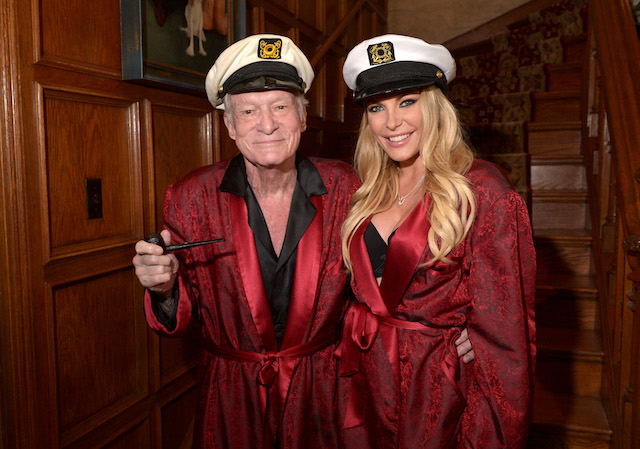 Hugh Hefner and Crystal Hefner attend Playboy Mansion's Annual Halloween Bash at The Playboy Mansion on October 25, 2014 in Los Angeles, California. (Photo by Charley Gallay/Getty Images for Playboy)