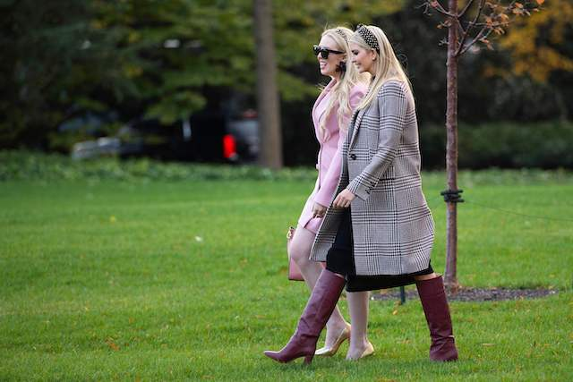 Ivanka Trump (R) and Tiffany Trump depart the White House in Washington, DC, on November 20, 2018. - The Trumps are traveling to Mar-a-Lago in Palm Beach, Florida, for the Thanksgiving Holiday (Photo credit: JIM WATSON/AFP/Getty Images)