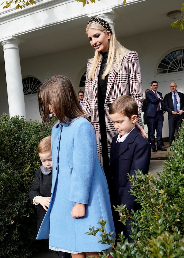 White House senior advisor Ivanka Trump arrives with her children Theodore, Arabella and Joseph Kushner prior to the 71st presentation and pardoning of the Thanksgiving turkeys in the Rose Garden of the White House in Washington, U.S., November 20, 2018. REUTERS/Jonathan Ernst
