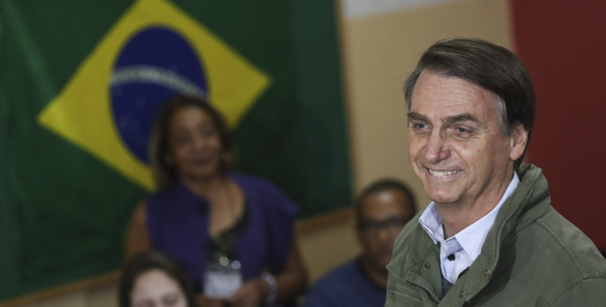 Jair Bolsonaro, far-right lawmaker and presidential candidate of the Social Liberal Party (PSL), arrives to cast his vote on Oct. 28, 2018 in Rio de Janeiro, Brazil. (Photo by Ricardo Moraes-Pool/Getty Images)