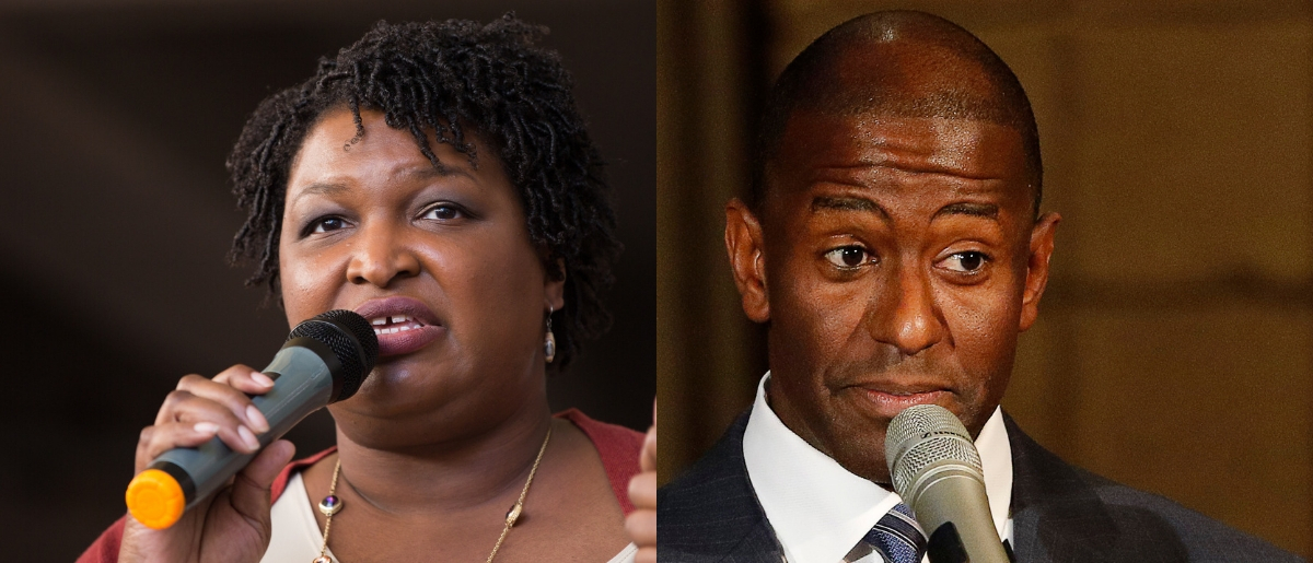 """(L to R) Defeated Democratic gubernatorial candidates Stacey Abrams of Georgia and Andrew Gillum of Florida voiced their opposition to a North Carolina judicial nominee for what they called a """"disregard for fundamental civil rights"""" Tuesday. Jessica McGowan/Getty Images and Joe Skipper/Getty Images"""