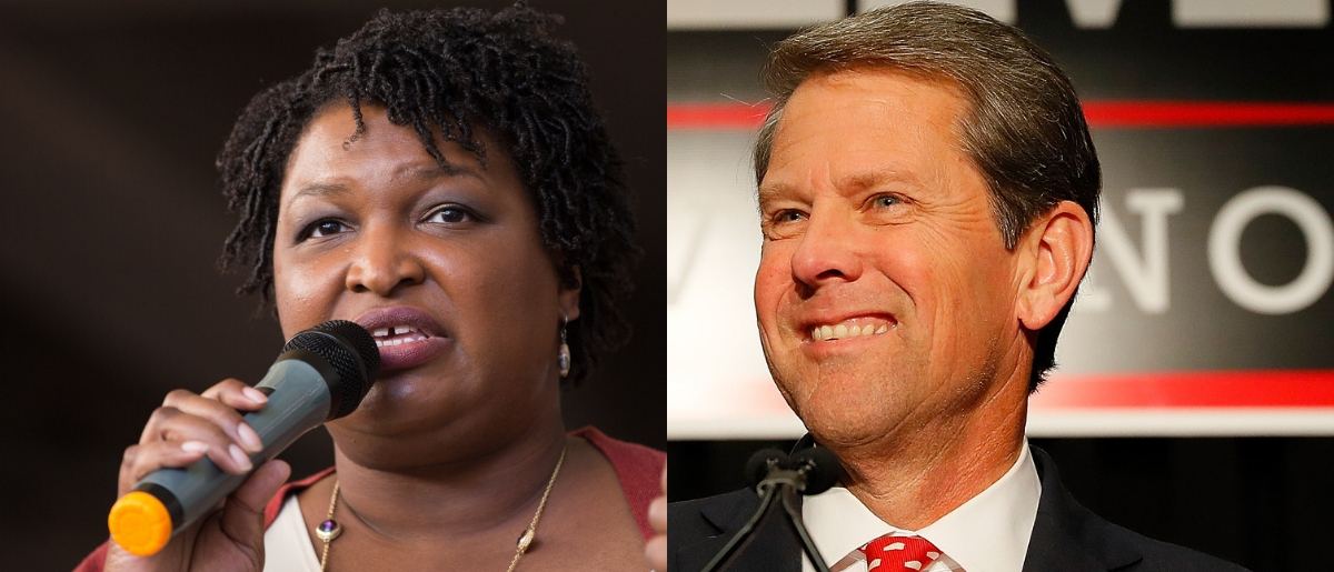 Republican Brian Kemp (right) declared victory in the Georgia gubernatorial contest over Democrat Stacey Abrams Oct. 8, 2018, although the race had not been officially called. (Jessica McGowan/Getty Images and Kevin C. Cox/Getty Images)