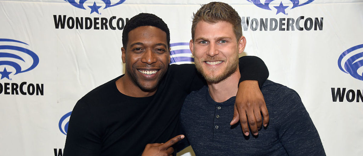 LOS ANGELES, CA - MARCH 26: Actors Jocko Sims and Travis Van Winkle attend 'The Last Ship' panel, TNT at Wondercon 2016 at Los Angeles Convention Center on March 26, 2016 in Los Angeles, California. (Photo by Frazer Harrison/Getty Images for Turner)