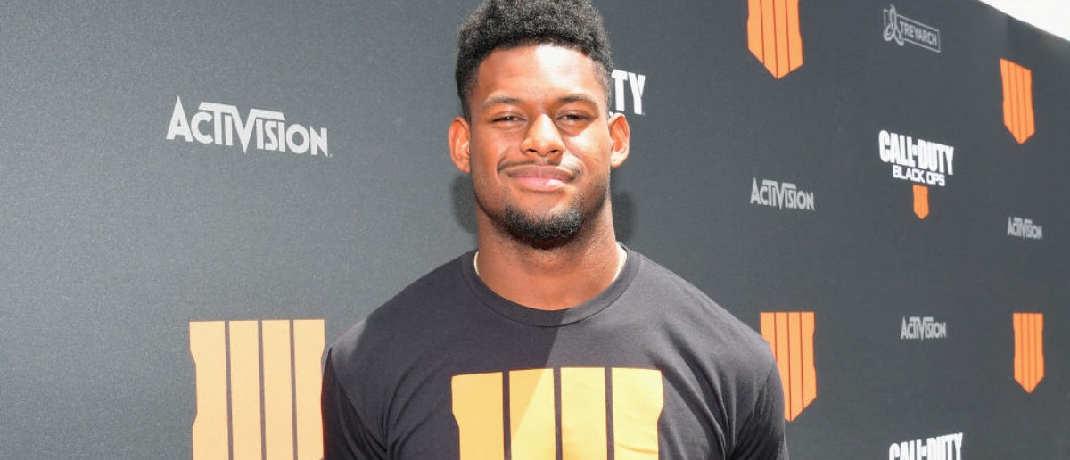 Football star Juju Smith-Schuster arrives on the black carpet at the Call of Duty: Black Ops 4 Community Reveal Event in Hawthorne, CA, on May 17, 2018. (Photo by Charley Gallay/Getty Images for Activision)