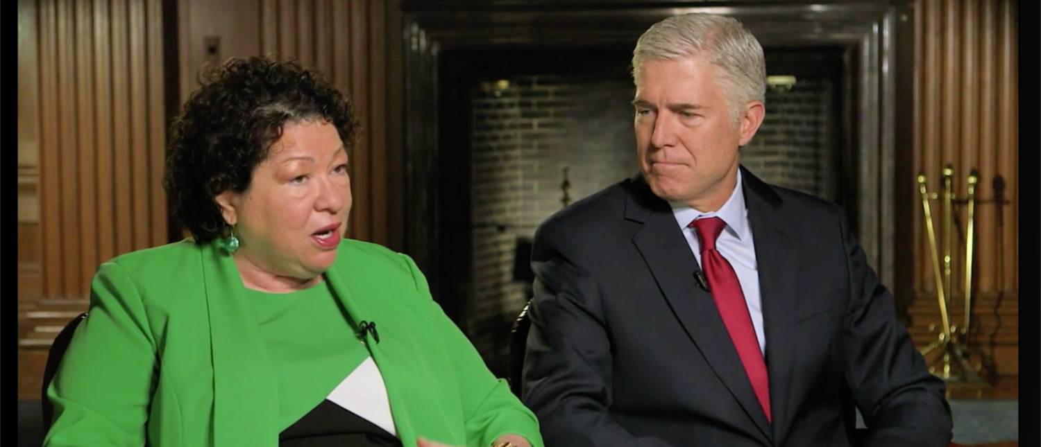 Justices Sonia Sotomayor and Neil Gorsuch speak to CBS Sunday Morning in November 2018 (Screenshot/CBS News)