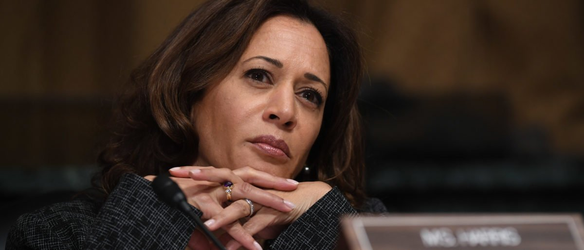 Sen. Kamala Harris, D-CA, listens as Christine Blasey Ford testifies before the US Senate Judiciary Committee in the Dirksen Senate Office Building on Capitol Hill September 27, 2018 in Washington, DC. (Saul Loeb-Pool/Getty Images)