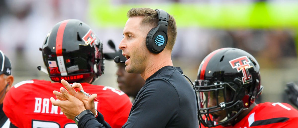 LUBBOCK, TX - NOVEMBER 05: Head coach Kliff Kingsbury of the Texas Tech Red Raiders encourages his team during the first half of the game between the Texas Tech Red Raiders and the Texas Longhorns on November 5, 2016 at AT&T Jones Stadium in Lubbock, Texas. (Photo by John Weast/Getty Images)