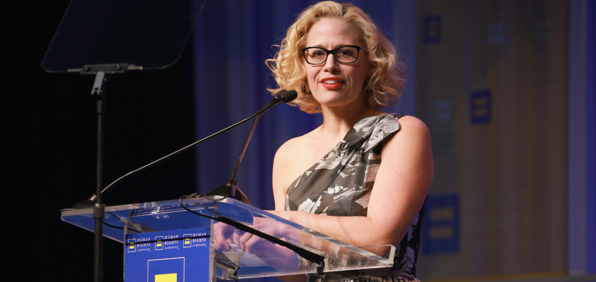 LOS ANGELES, CA - MARCH 10: Congresswoman Kyrsten Sinema speaks onstage at The Human Rights Campaign 2018 Los Angeles Gala Dinner at JW Marriott Los Angeles at L.A. LIVE on March 10, 2018 in Los Angeles, California. (Photo by Rich Fury/Getty Images for Human Rights Campaign (HRC))