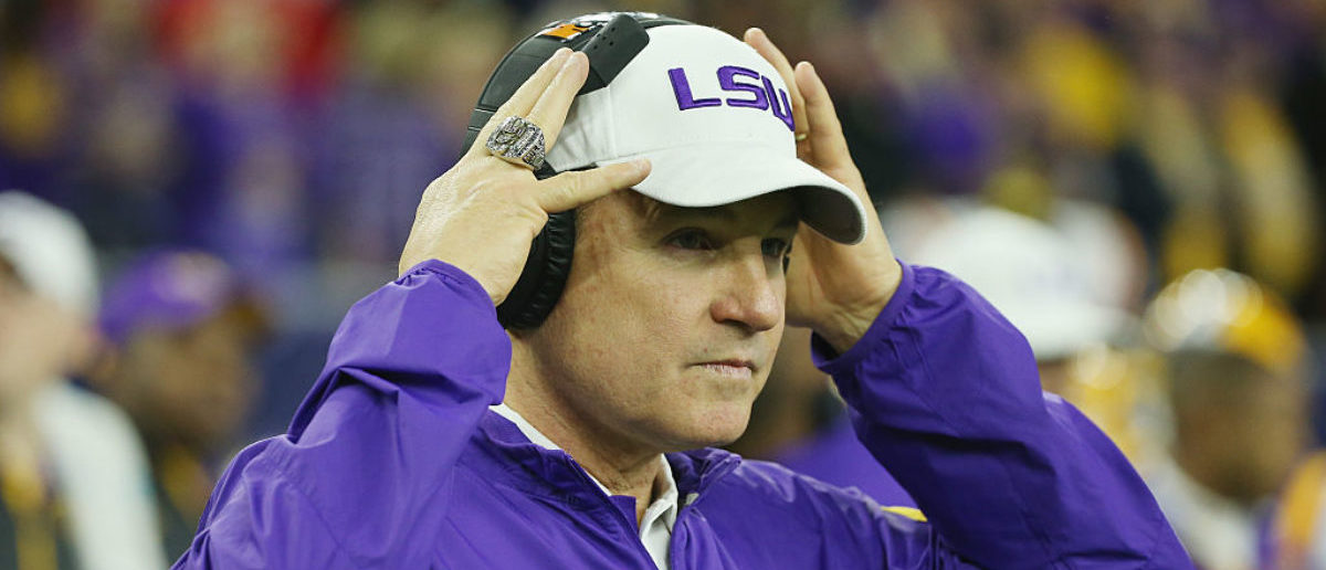 HOUSTON, TX - DECEMBER 29: Head coach Les Miles of the LSU Tigers waits near the bench area before the start of their game against the Texas Tech Red Raiders during the AdvoCare V100 Texas Bowl at NRG Stadium on December 29, 2015 in Houston, Texas. (Photo by Scott Halleran/Getty Images)