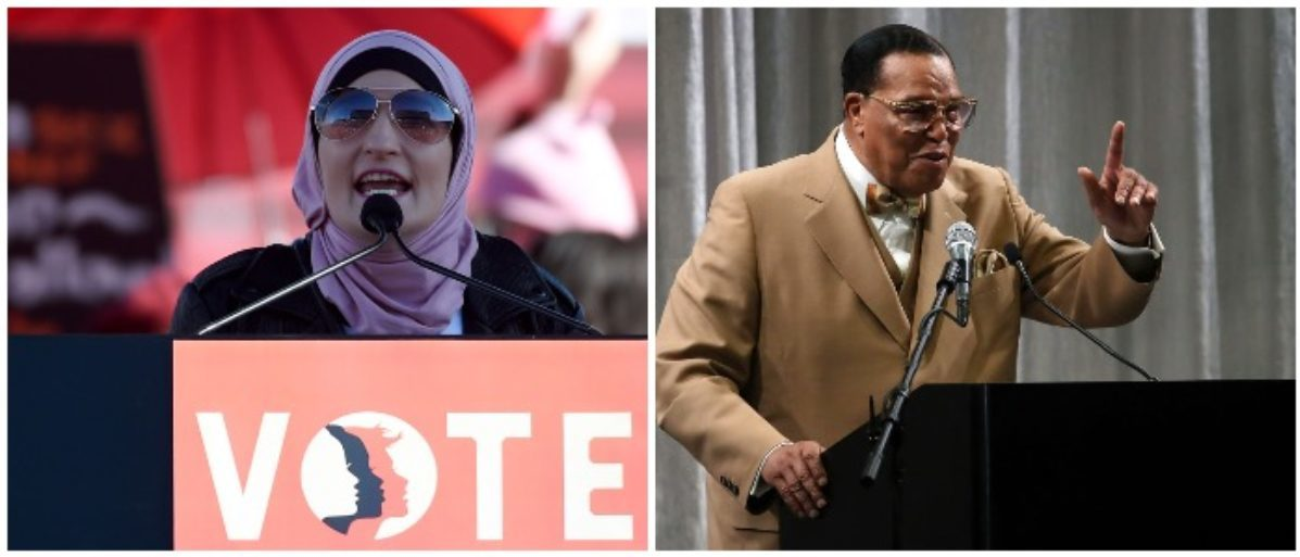 Linda Sarsour and Louis Farrakhan (LEFT: Ethan Miller/Getty Images LEFT: Mark Wilson/Getty Images)