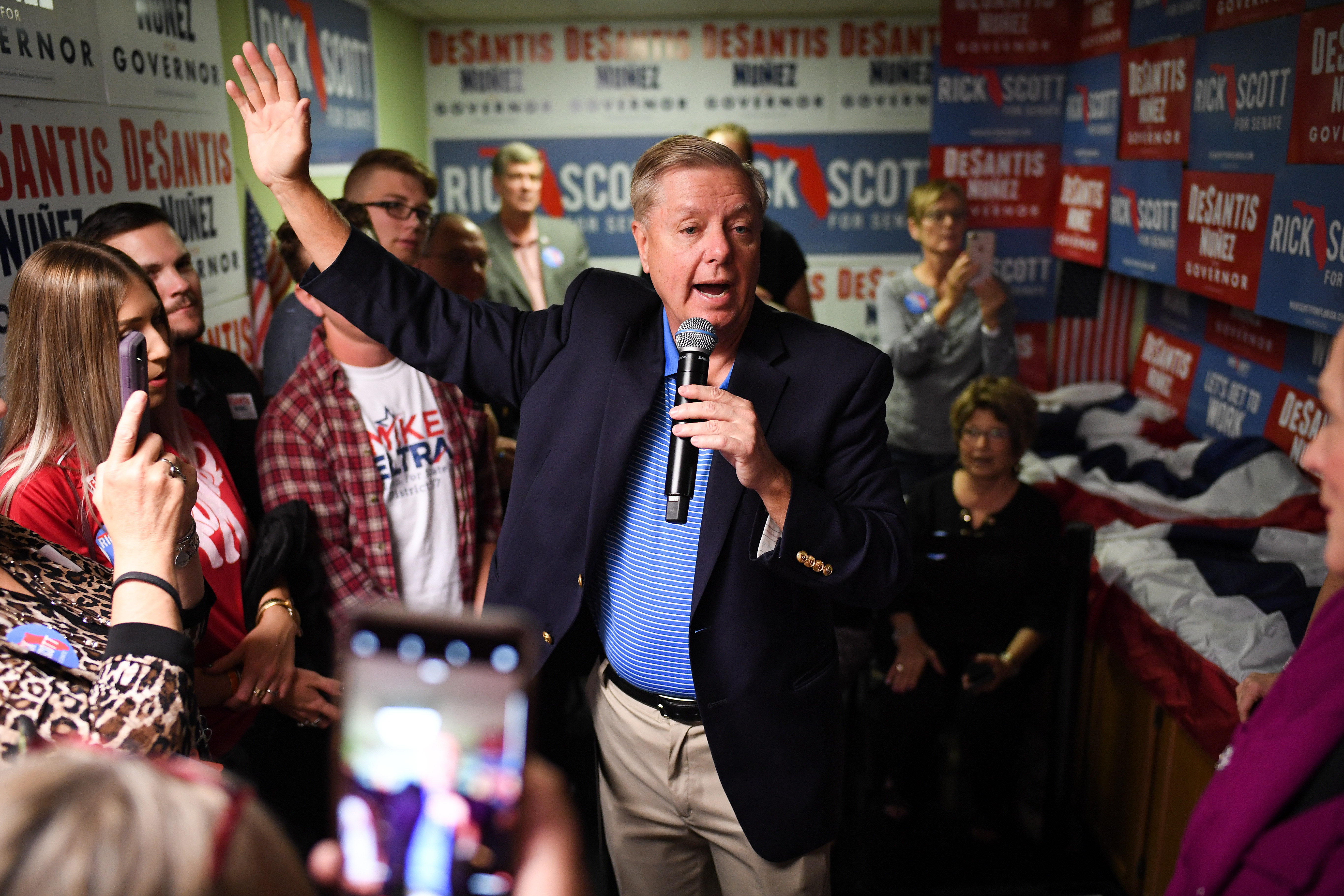 U.S. Senator Lindsey Graham attends an event with Republican gubernatorial candidate Ron DeSantis, at Hillsborough Victory Office on November 2, 2018 in Tampa, Florida. DeSantis is running against Democratic challenger Andrew Gillum to be the next Florida governor. (Jeff J Mitchell/Getty Images)