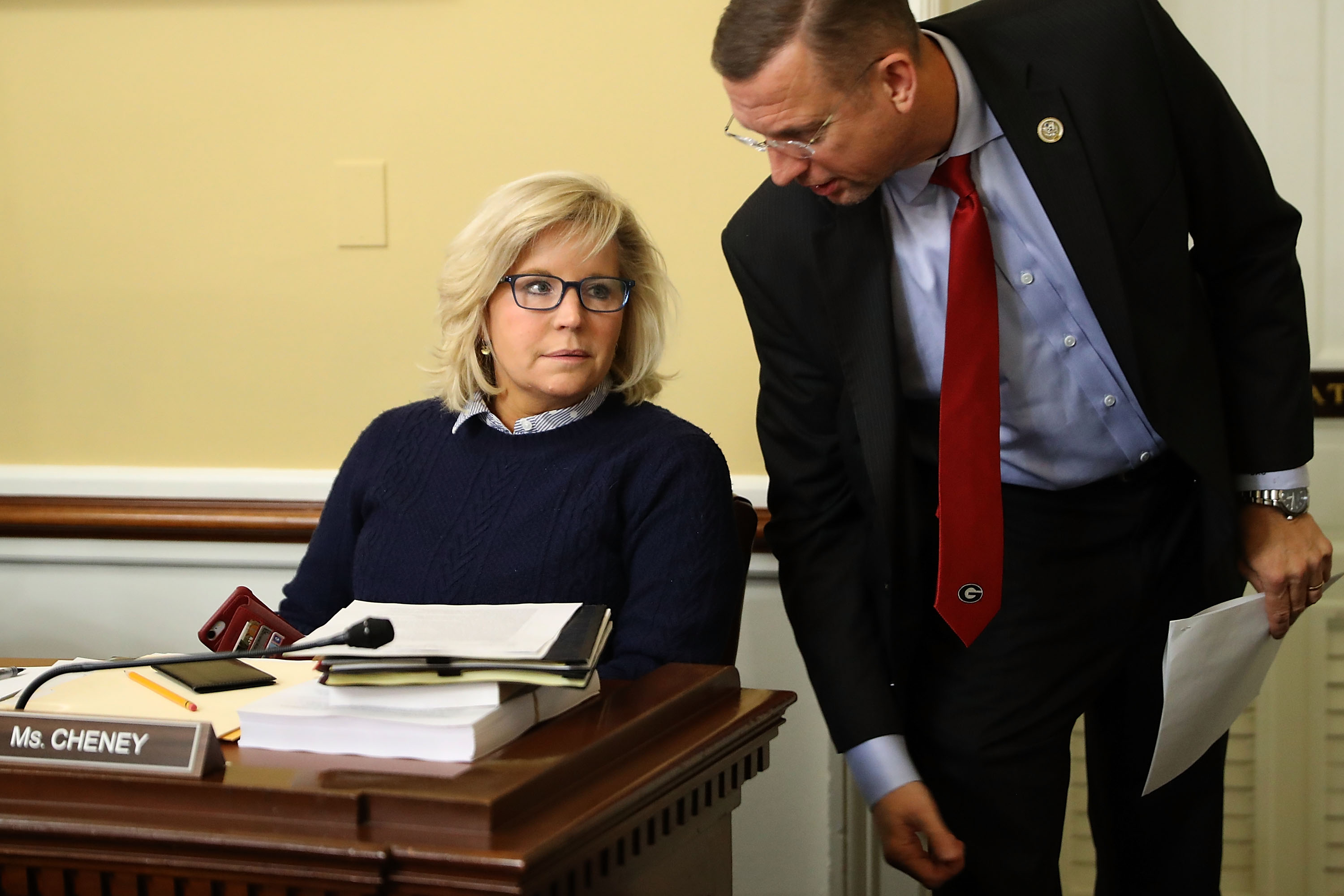 House Rules Committee members Rep. Liz Cheney (R-WY) (L) and Rep. Doug Collins (R-GA) talk during a break in a hearing at the U.S. Capitol December 18, 2017 in Washington, DC. (Chip Somodevilla/Getty Images)