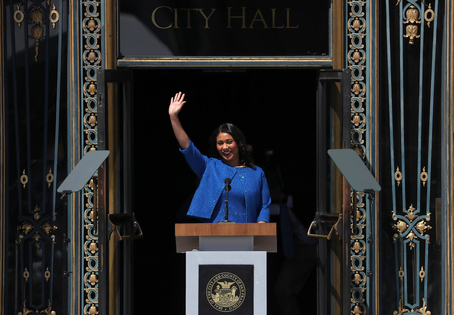 SAN FRANCISCO, CA - JULY 11: San Francisco mayor London Breed waves during her inauguration at San Francisco City Hall on July 11, 2018 in San Francisco, California. London Breed made history after being sworn in as the first black woman to be elected as mayor of San Francisco. Breed will finish out the term of former San Francisco mayor Ed Lee who died unexpectedly last year. (Photo by Justin Sullivan/Getty Images)
