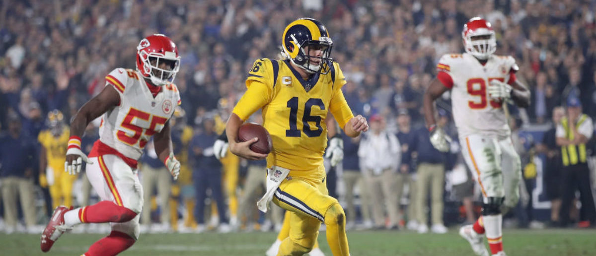 LOS ANGELES, CA - NOVEMBER 19: Quarterback Jared Goff #16 of the Los Angeles Rams runs in for a touchdown on a seven yard rush during the third quarter of the game against the Kansas City Chiefs at Los Angeles Memorial Coliseum on November 19, 2018 in Los Angeles, California. (Photo by Sean M. Haffey/Getty Images)